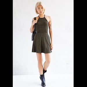 Silence + Noise Ribbed Lace Up Back Skater Dress M